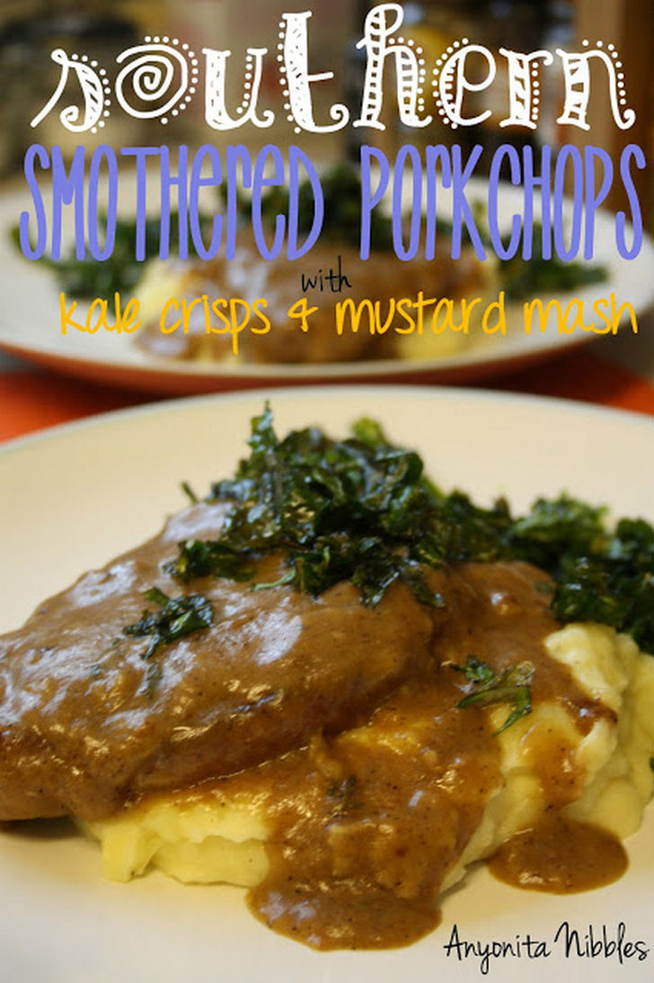 7 Pork Chop Recipes - Southern Smothered Pork Chops with Kale Crisps and Mustard Mash.