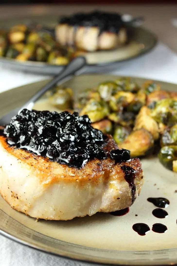7 Pork Chop Recipes - Pork Chops with Huckleberry Sauce.