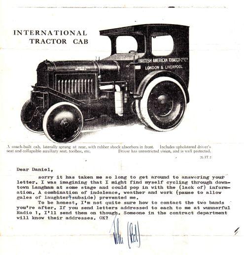 Letter from John Peel