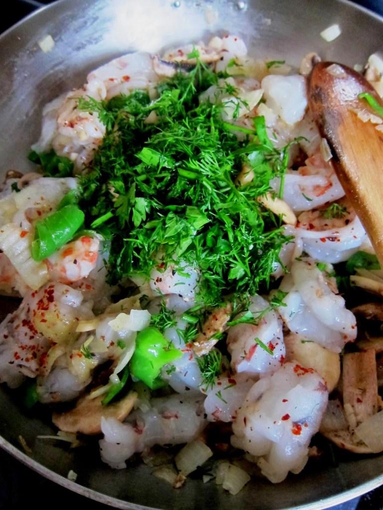 Sautéing shrimps
