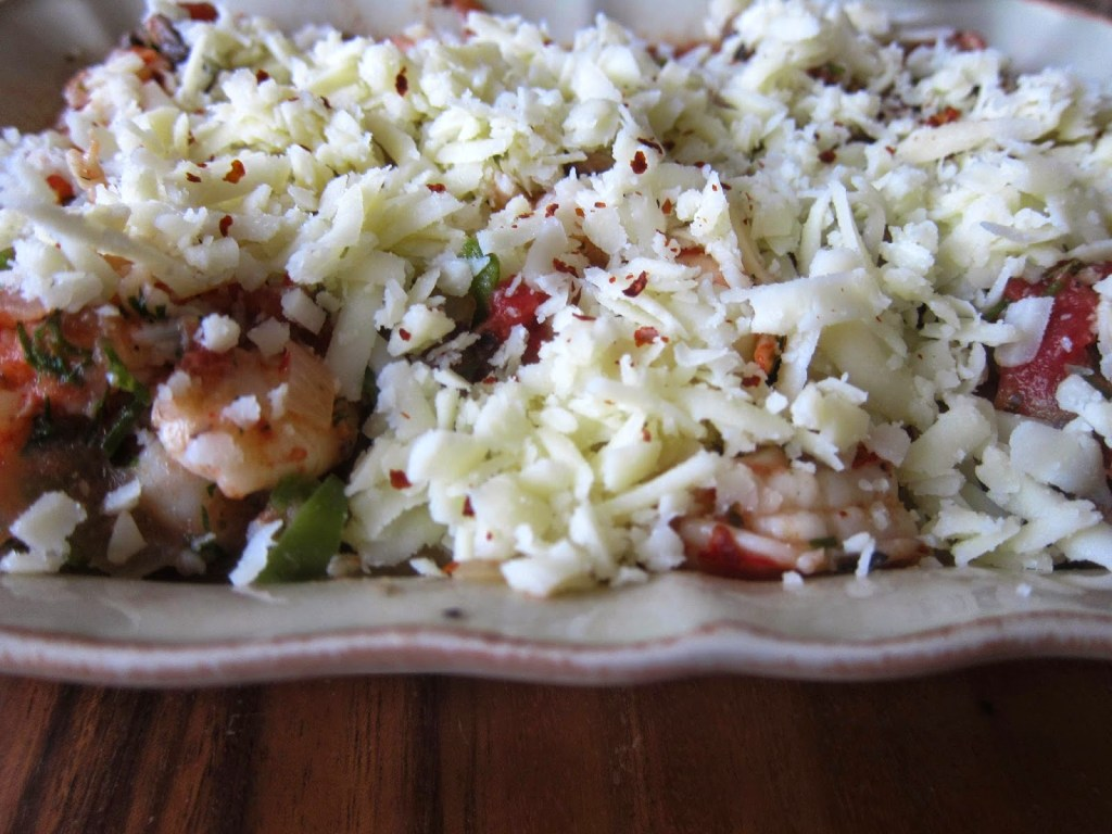 Shrimp casserole ready for the oven