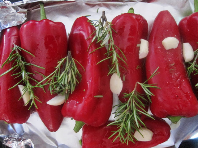 Peppers ready to go in oven
