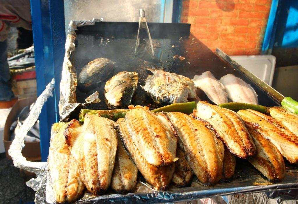 grilled mackerel for <i><b>balık ekmek</i></b>