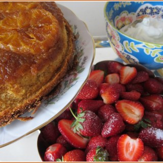 served with fresh strawberries and cream