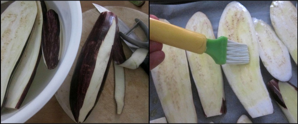 preparing aubergine