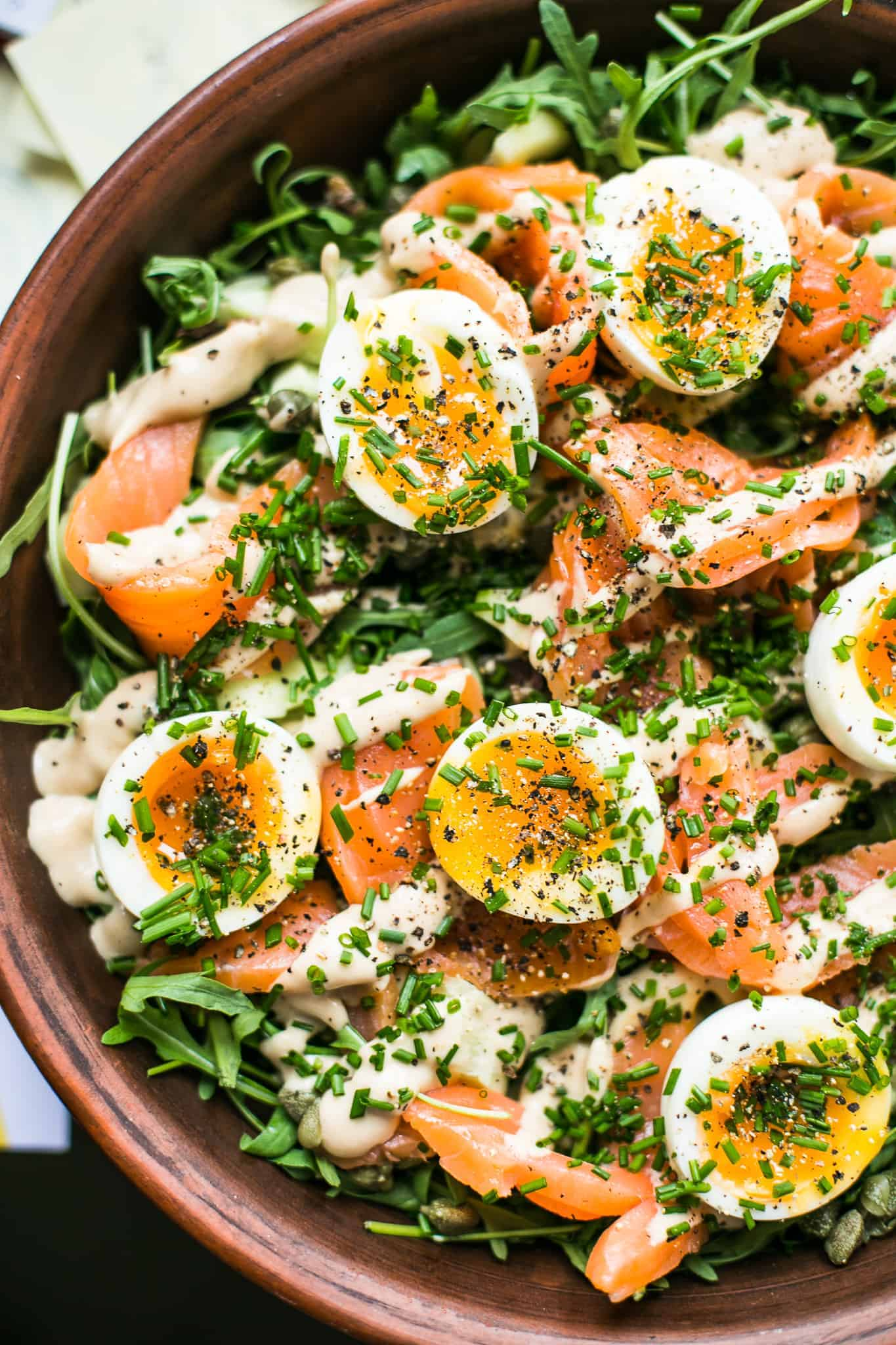 Easy home cure cured salmon and soft boiled egg salad. Perfect for weekend brunches, lunch or light dinner meals.