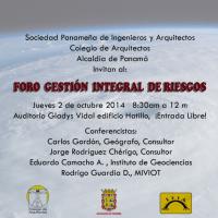 Foro Gestión Integral de Riesgos, SPIA, CoArq, Alcaldía de Panamá