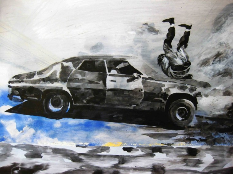 Paolo Boosten indian ink drawing with car overthrowing men.