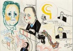 "Initial Drawings of David Cameron for a Large illustrated letter C in ""The A-Z of Cameron's Cuntry."