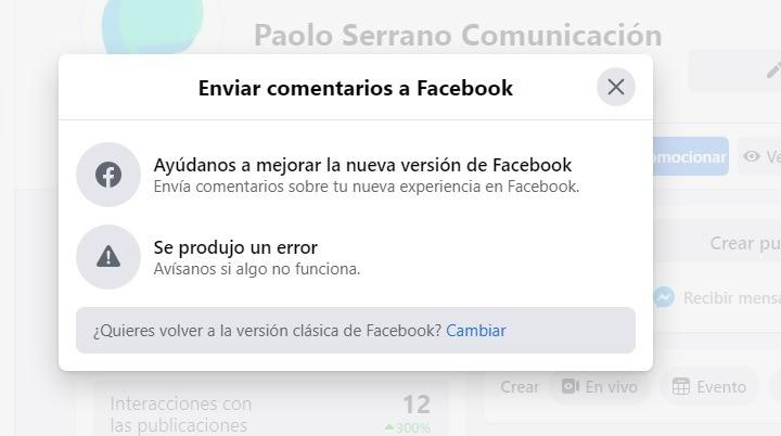 ¿Quieres volver a la versión clásica de Facebook?