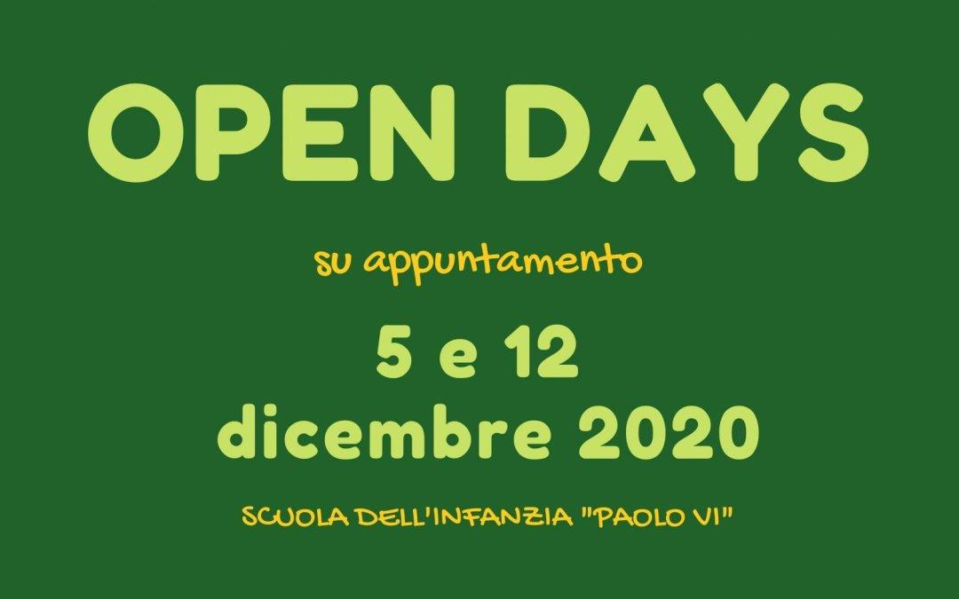 OPEN DAY-S: sabato 5 e sabato 12 dicembre 2020