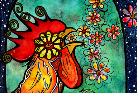 rooster-robiniart-with-flowers-800