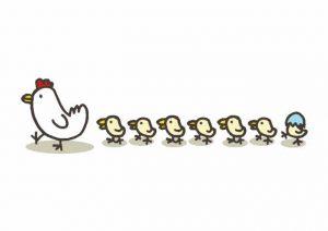 大家族イメージ鶏とひよこ