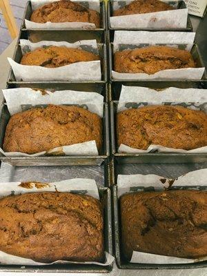 Fresh batch of mini banana bread loaves from the bakery
