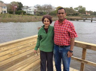 With my Aunt Gemma at the dock behind their place