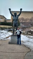 At Sly Stallone's Rocky memorial with my Rocky t-shirt