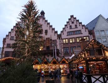 Der Weihnachtsbaum auf dem Frankfurter Weihnachtsmarkt am Römer
