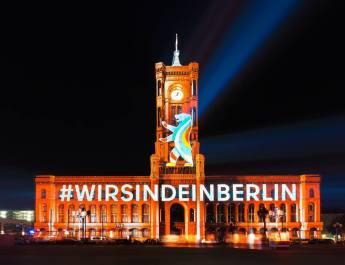 "Das Rote Rathaus beim ""Festival of Lights"""