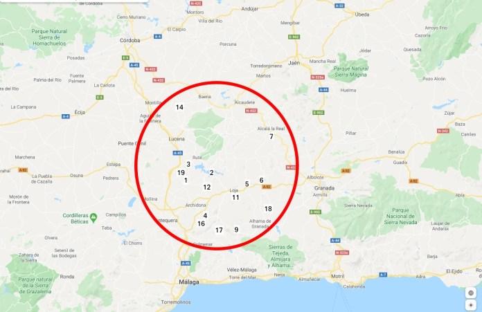 Concentración de 15 de los 20 municipios con mayor tasas de suicidio