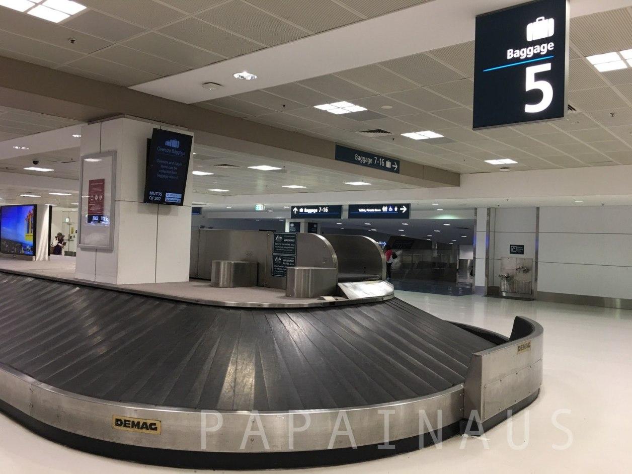 シドニー空港荷物ピックアップエリア