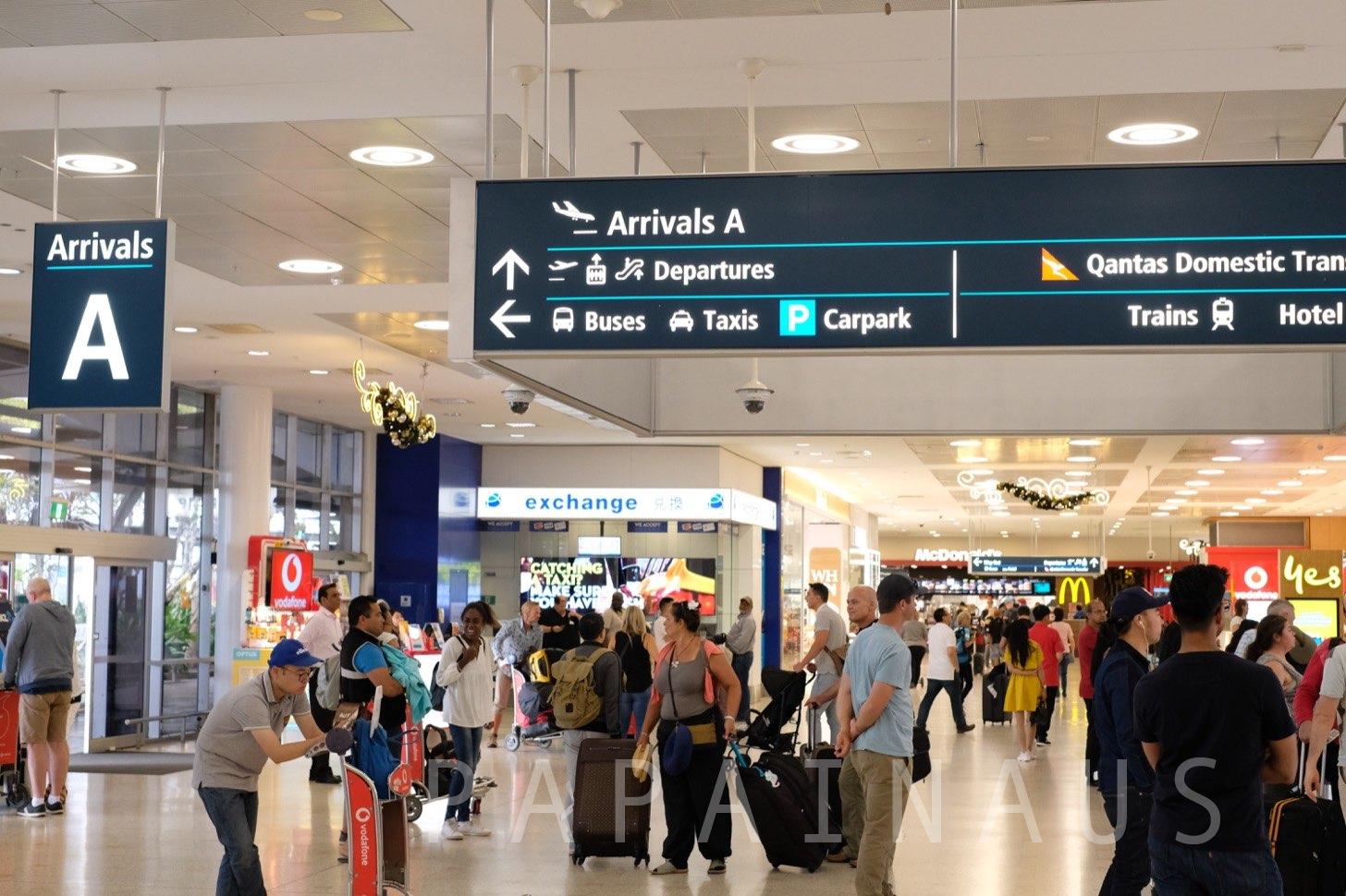 シドニー空港到着ゲートA