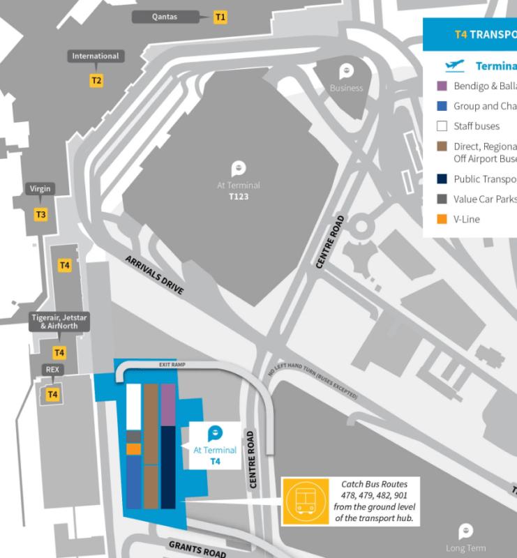 メルボルン空港901バス乗り場地図