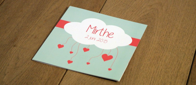Gebroortekaartje Mirthe Voorkant
