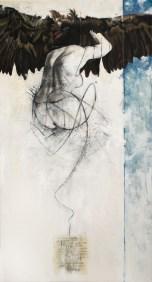 'Atlas IX', Oil, oil-pastel, charcoal, pencil and color pencil on canvas, 120cm.X65cm., 2011