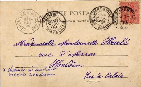 Verso Carte Postale - Tour de Dampierre/Authie - Propriété de la famille PADIEU d'Amiens