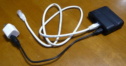 無線LANルーターに電源とLANケーブルを繋ぐ