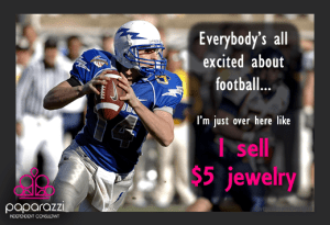 I sell $5 Jewelry Paparazzi football graphic