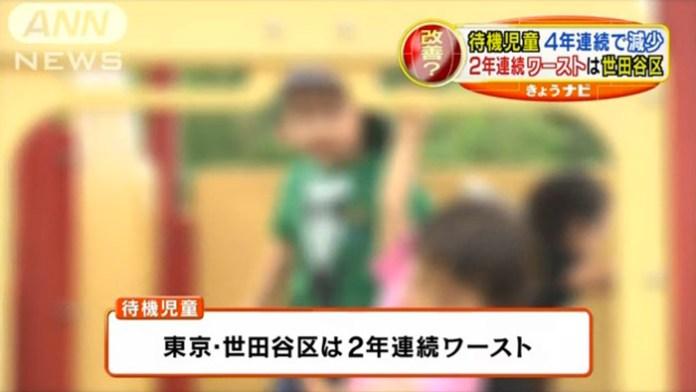 待機児童数の全国ワーストは、2年連続で東京・世田谷区