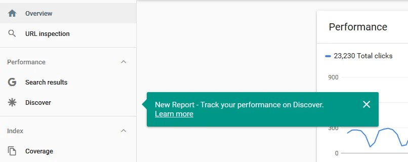 Performance report for Discover