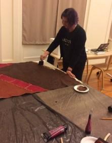 Lindsay Randall hard at work painting