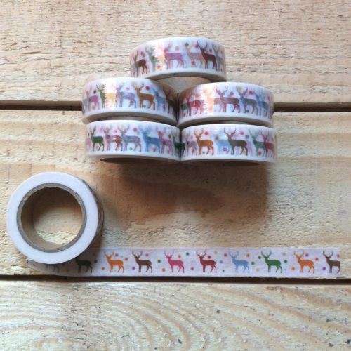 Washi tape ciervos de colores