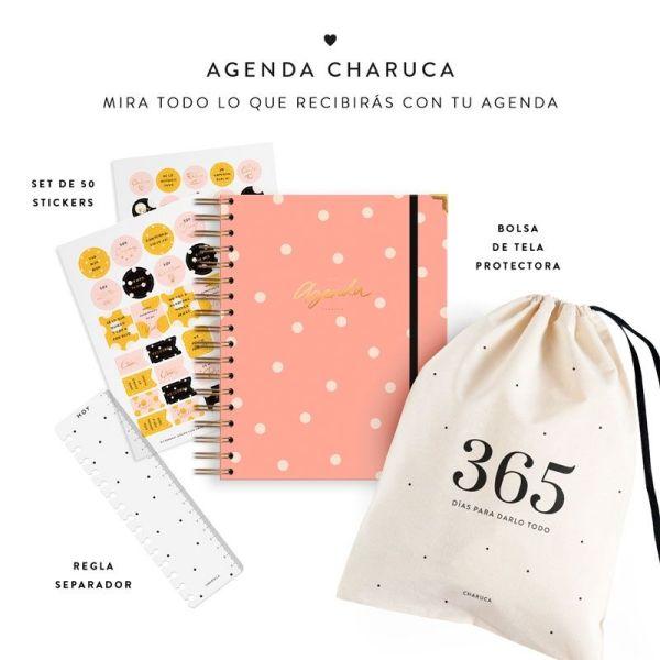Agenda Charuca, pegatinas, marcapáginas y bolsa de tela