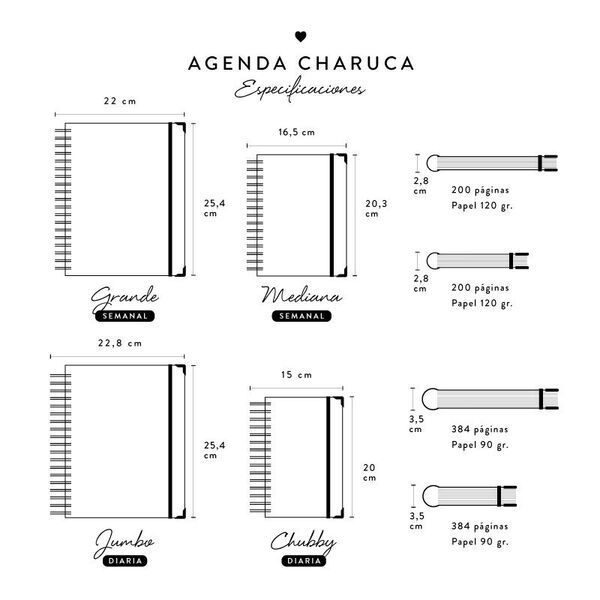 Agendas Charuca académicas tamaños y modelos