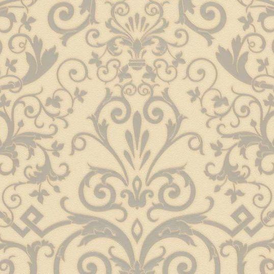 935455 resize - Papel pintado Versace beige con textura rugosa y detalles barrocos en plata Ref. 93545-5