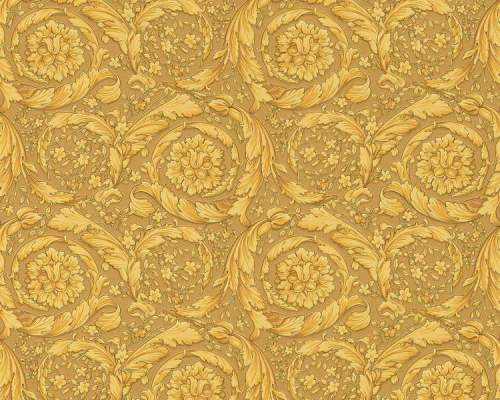 935833 resize - Papel pintado Versace con rosetones en oro sobre fondo dorado Ref. 93583-3