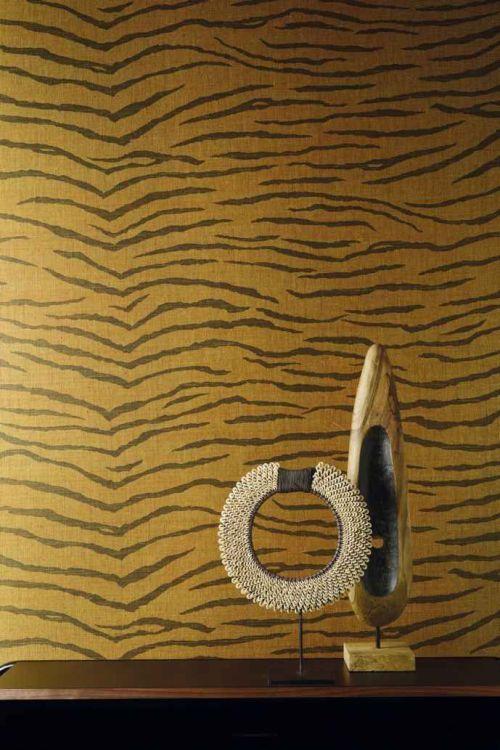 JUA 211 - Revestimiento mural de sisal oro y negro estampado tigre de la colección Jungle Ref. JUA211