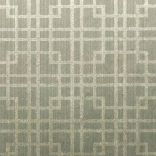 br3791GR - Revestimiento mural geométrico color verde grisáceo de la colección Brocades Ref. BR3791