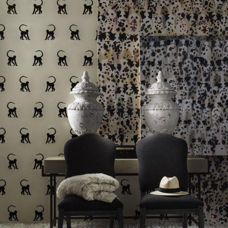 Papel pintado monos terciopelo negro ref. Cheeky monkey Ebony