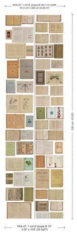 Papel pintado de libros antiguos fondo blanco EKA-07