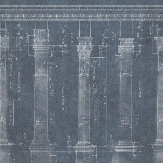 Mind the gap WP20023 - Colonnade Blue