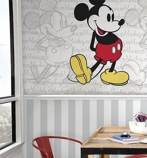 Rayas plata DY0322 y mural clásico Mickey JL1404M