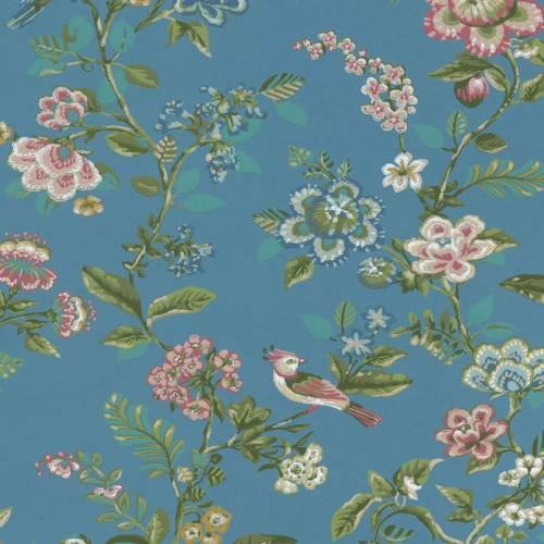 papel de hojas y flores con fondo azul oscuro