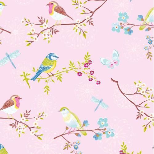 Papel rosa brillante de flores y pájaros