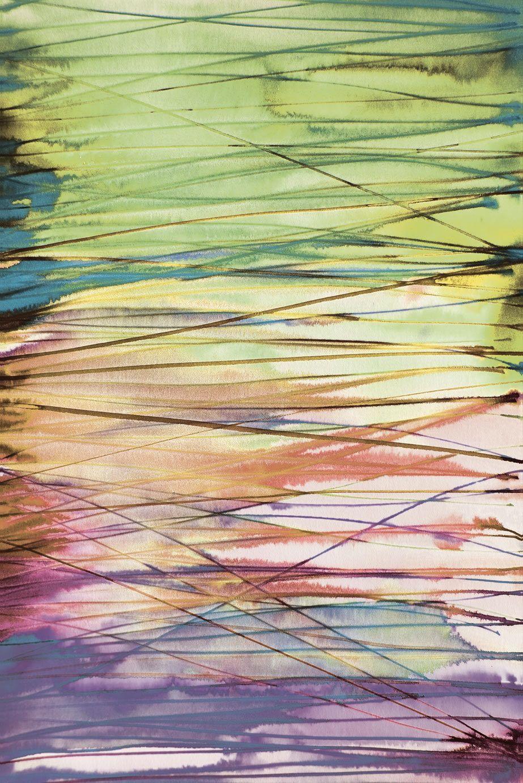 Mural de 4 tiras de estampado rayado multicolor