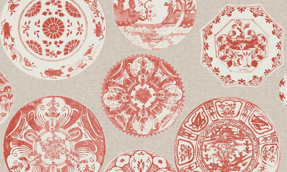 Papel para paredes con dibujo de platos de cerámica en rojo