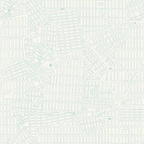 papel pintado con plano de new york en turquesa